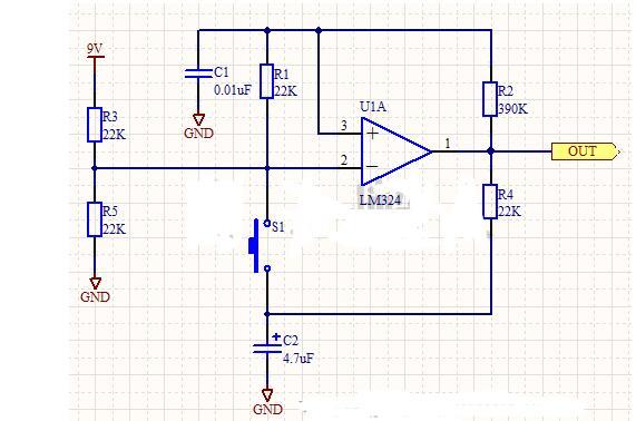 采用运放实现的单按键开关电路图