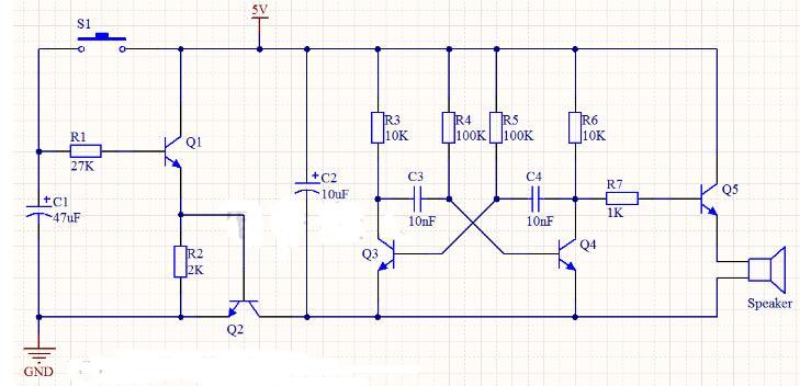 延迟式无稳态多谐振荡器发声电路工作过程