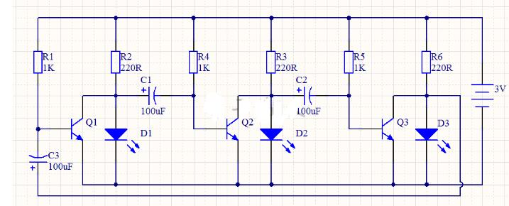 循环LED彩灯电路工作过程