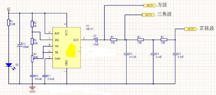 简易的555函数信号发生器电路图
