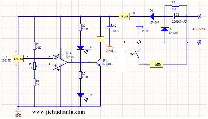 基于lm35d的温控加热器电路图