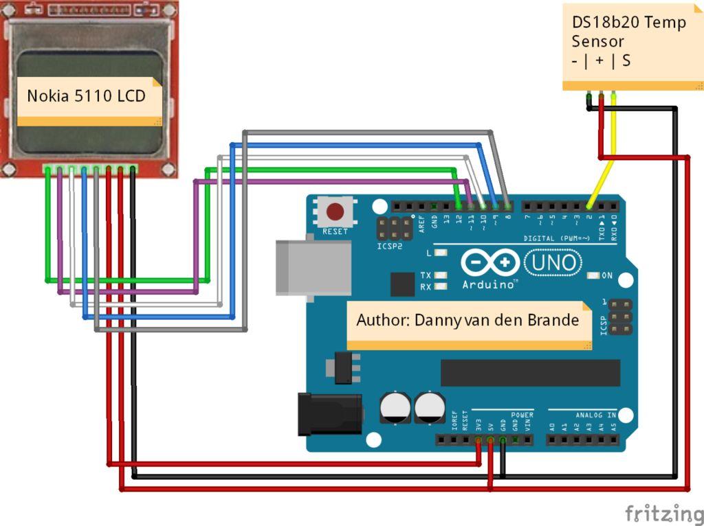 带DS18B20的诺基亚5110 LCD温度表的制作
