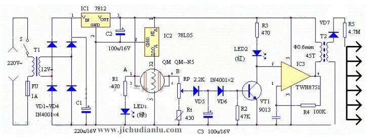 负氧离子空气清新器电路图
