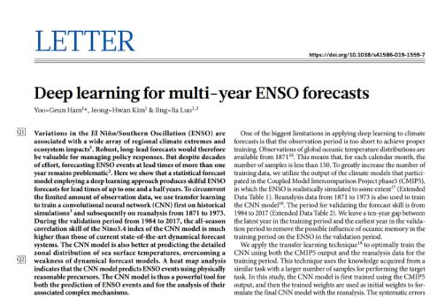 利用深度学习方法,搭建了一个针对厄尔尼诺的统计预...