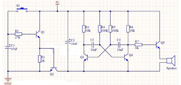 延迟式无稳态多谐振荡器发声电路