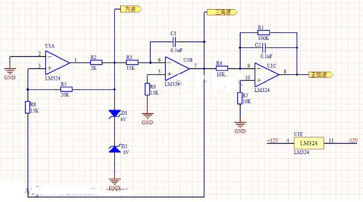 使用LM324运放设计的函数信号发生器电路
