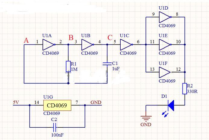 CMOS門電路組成的多諧振蕩器電路工作原理