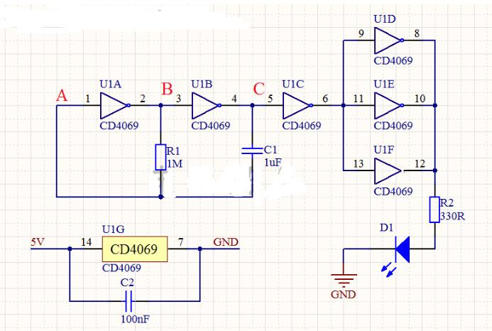 CMOS门电路组成的多谐振荡器电路工作原理