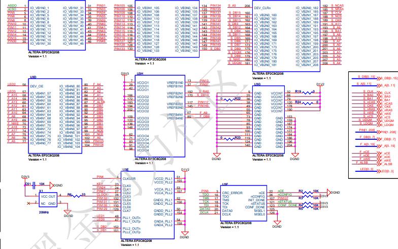 DB2C8 FPGA黑金开发核心板的电路原理图免费下载
