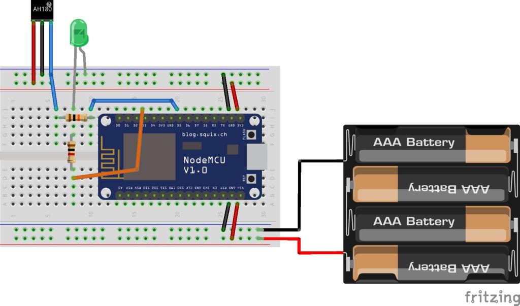 如何將NodeMCU與AH180霍爾效應傳感器配合使用