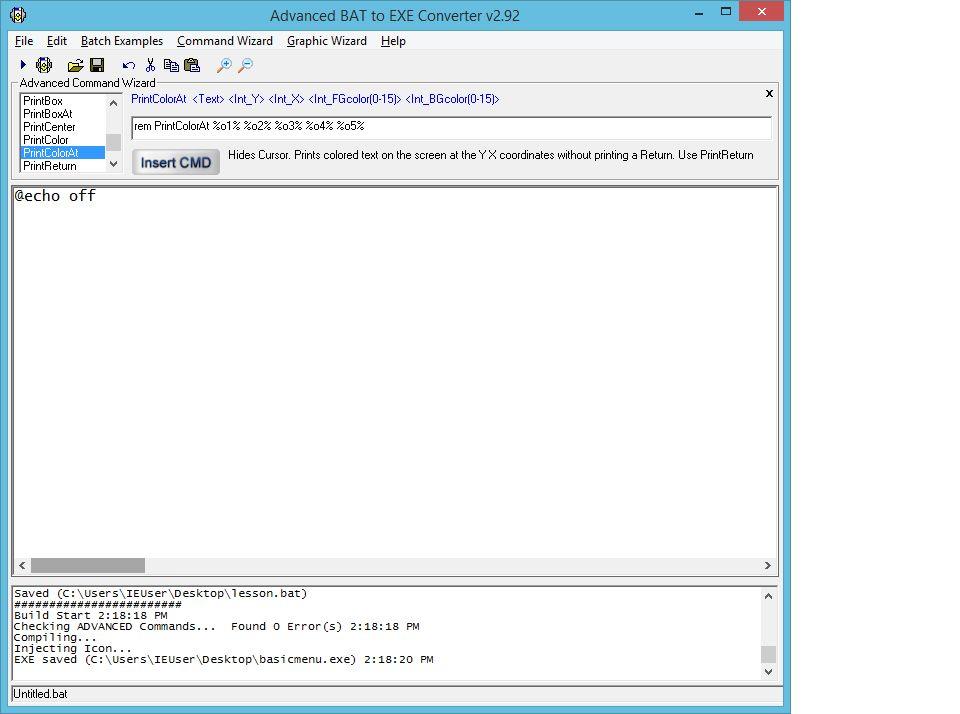 如何创建鼠标驱动菜单来执行已编译EXE中的子程序