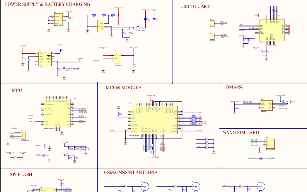 使用MCE60和BMA456加速度计实现小型GPS跟踪器的电路原理图免费下载