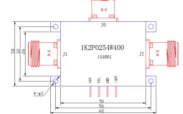 1K2P0254W400型大功率宽带短波开关的数据手册免费下载
