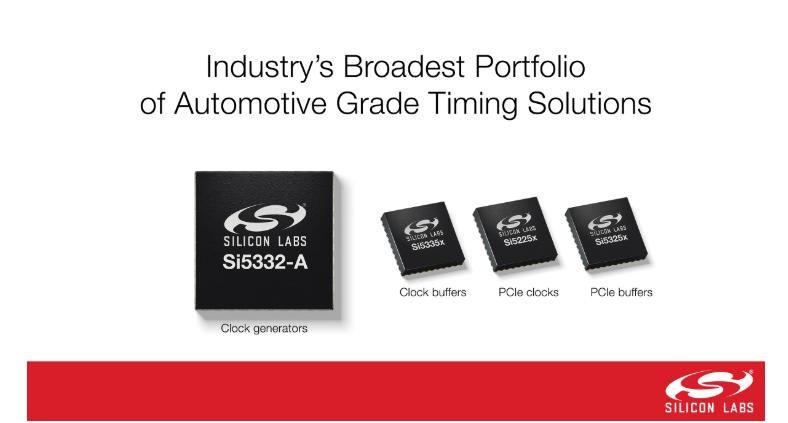 Silicon Labs推业界最广泛的汽车级AEC-Q100认证的时钟发生器
