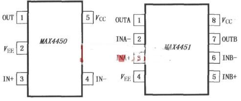 MAX4450单放大器和MAX4451双放大器的作用及引脚排列介绍