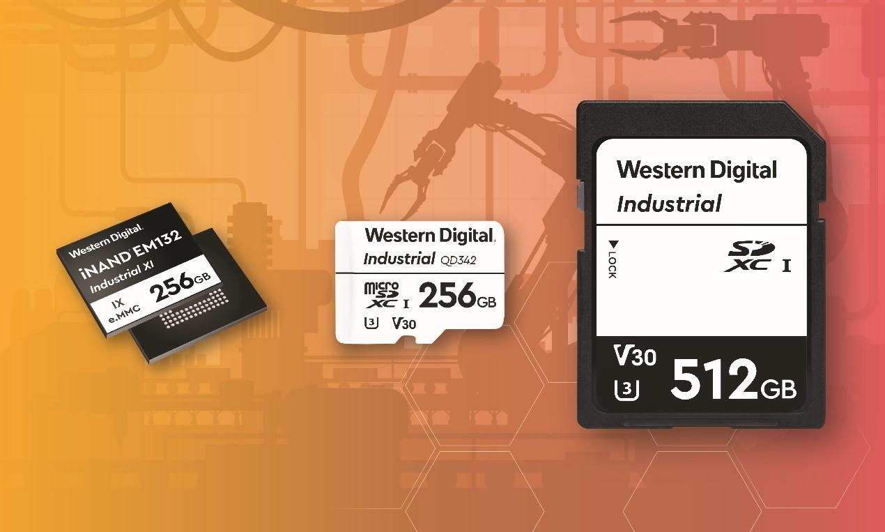 西部数据推出的面向工业和物联网应用的三款全新解决方案:iNAND IX EM132嵌入式闪存盘、IX LD342 SD存储卡和IX QD342 microSD存储卡。