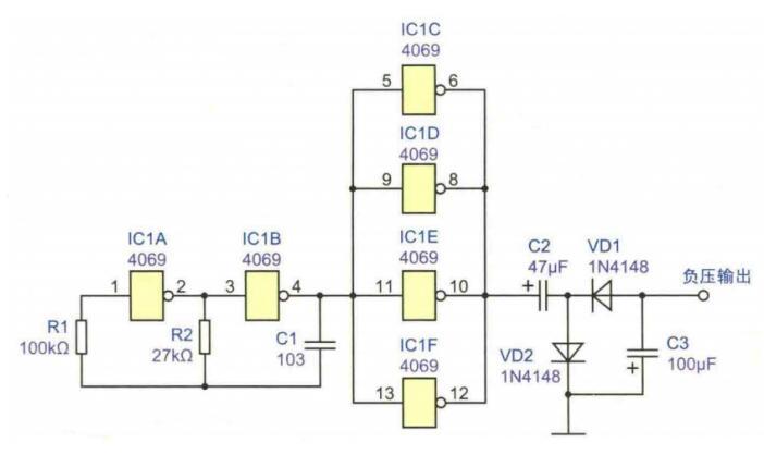 正電源轉換為負電源的簡單電路圖