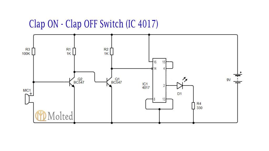 如何在不使用4017 IC的情况下制作拍手控制电路