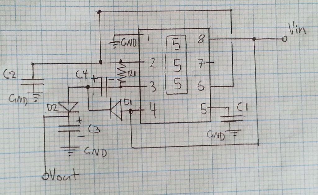 怎样使用555定时器IC将输入DC电源的电压加倍