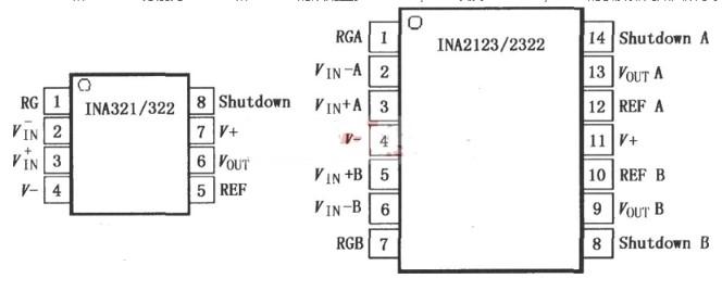 INA321/322微功率CMOS仪表放大器的作用特点及引脚介绍