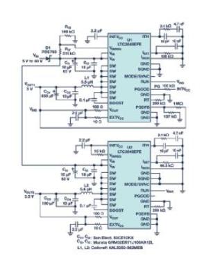 60V輸入單芯片轉換器斷電時為關鍵系統供電,無需任何額外元件