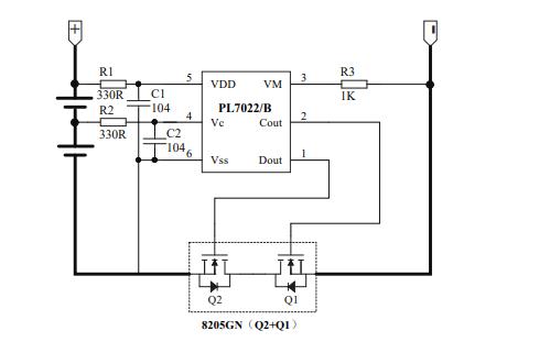 PL7022B双节可充电锂电池保护电路芯片的数情况是据手册免费下载