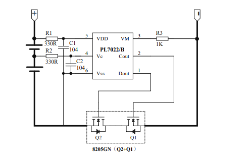 PL7022B雙節可充電鋰電池保護電路芯片的數據手冊免費下載