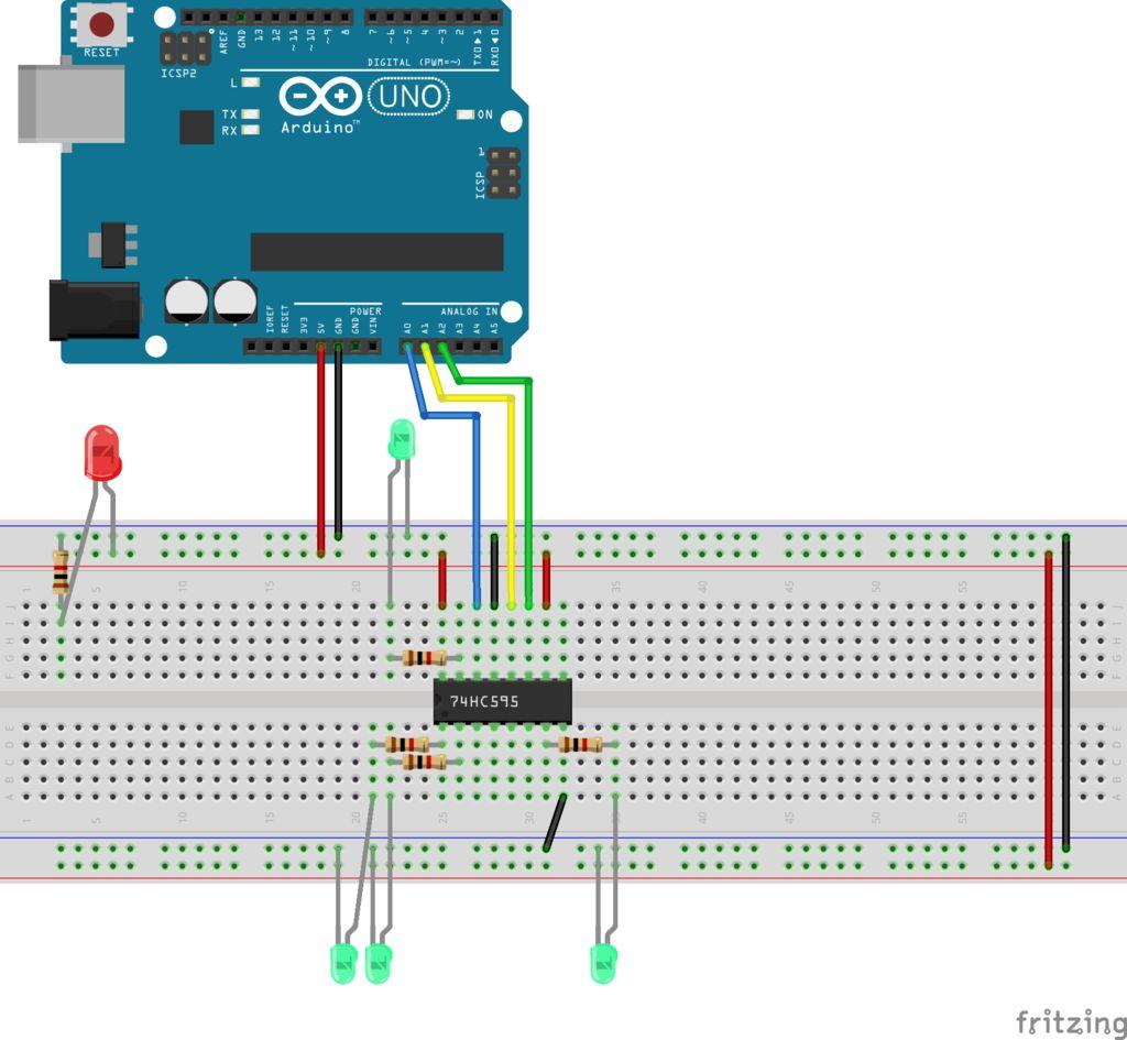 如何使用串行接口以74HC595移位寄存器作为展示向设备写入数据