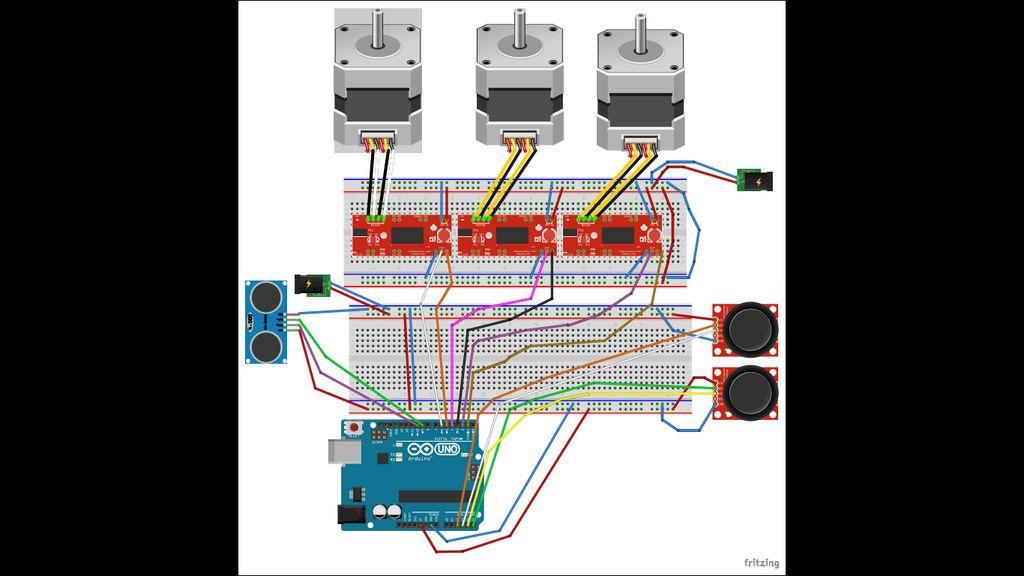 如何使用双极电机创建3点轴机械臂