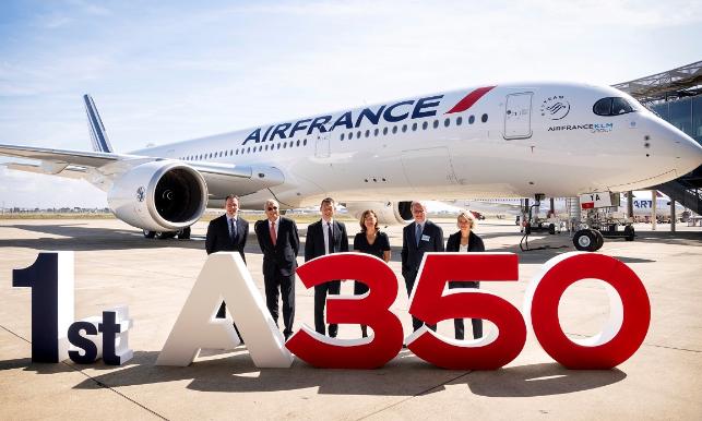 法国航空成功接收了一架全球最高效的空客A350XWB宽体飞机