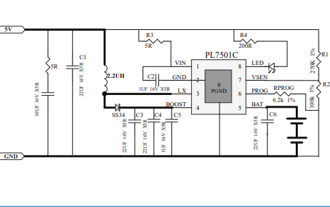 PL7501C 5V输入升压型双节锂电池充电管理芯片的数据手册免费下载