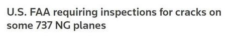 美國聯邦航空管理局表示波音飛機出現了裂縫的問題