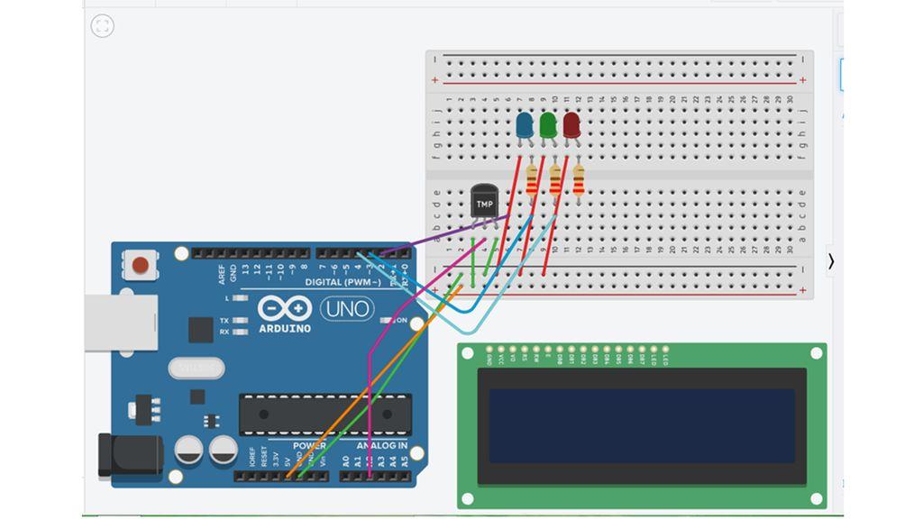带LCD的Arduino LED温度指示器的制作