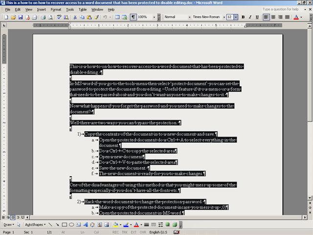 如何恢复对已受保护以禁止编辑的Word文档的访问