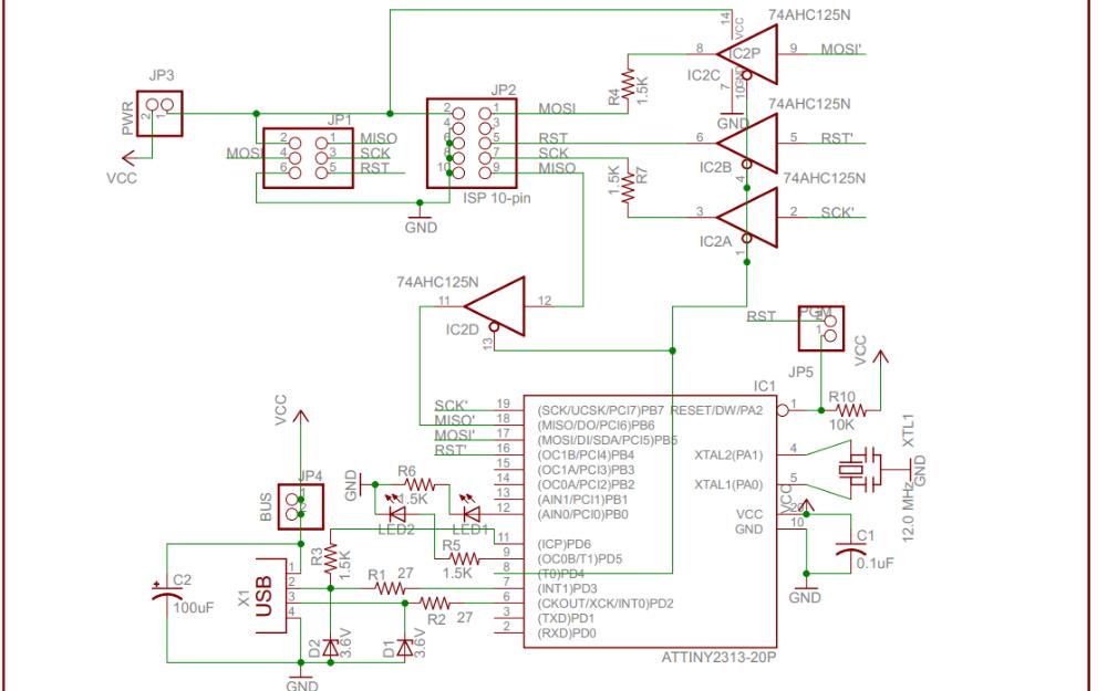 Arduino USBtinyISP下載器的電路原理圖免費下載
