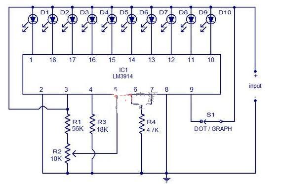 基于LM3914的12V電池電量指示電路圖