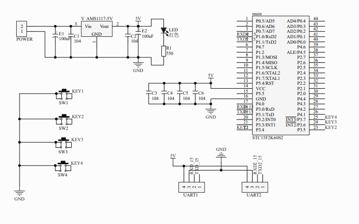 使用STC15F60S2单片机实现的蓝牙遥控电路原理图免费下载
