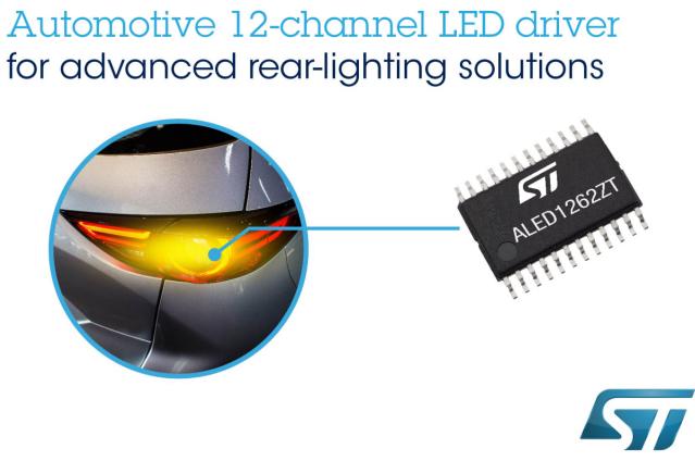 意法半导体推出灵活的车规级12通道LED驱动芯片,简化当下最先进的车灯设计