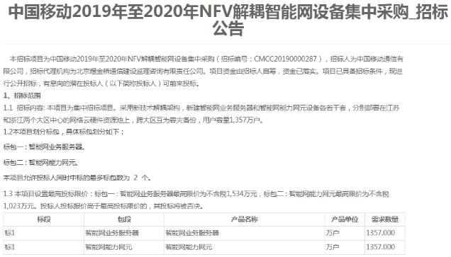 中国移动发布了2019至2020年NFV解耦智能...