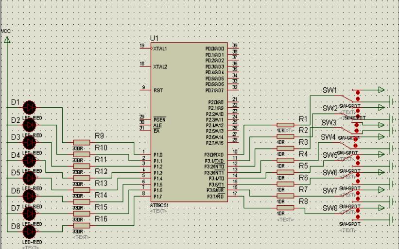 使用Proteus仿真软件实现单片机P1、P3口输入输出实验的详细资料说明