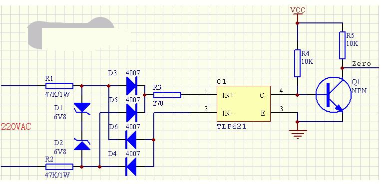 一个交流电源过零脉冲检测电路图