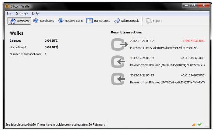 中本聪开发的第一个比特币钱包Bitcoin-Qt...
