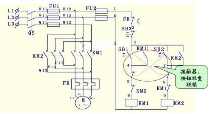双重连锁正反转控制电路图