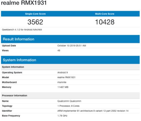 realme X2 Pro跑分曝光单核心分为3562分多核心分为10428分