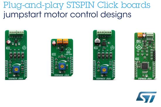 意法半导体推出STSPIN模块 为其它开发板增加高性能电机驱动器