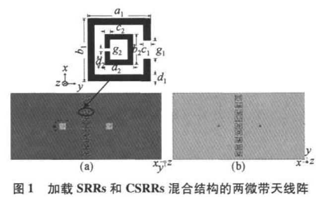 混合SRRs和CSRRs清除微带相控阵天线扫描盲点说明
