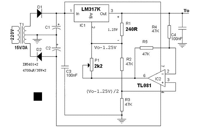 0-12v/3a可调电源的电路图和分析说明