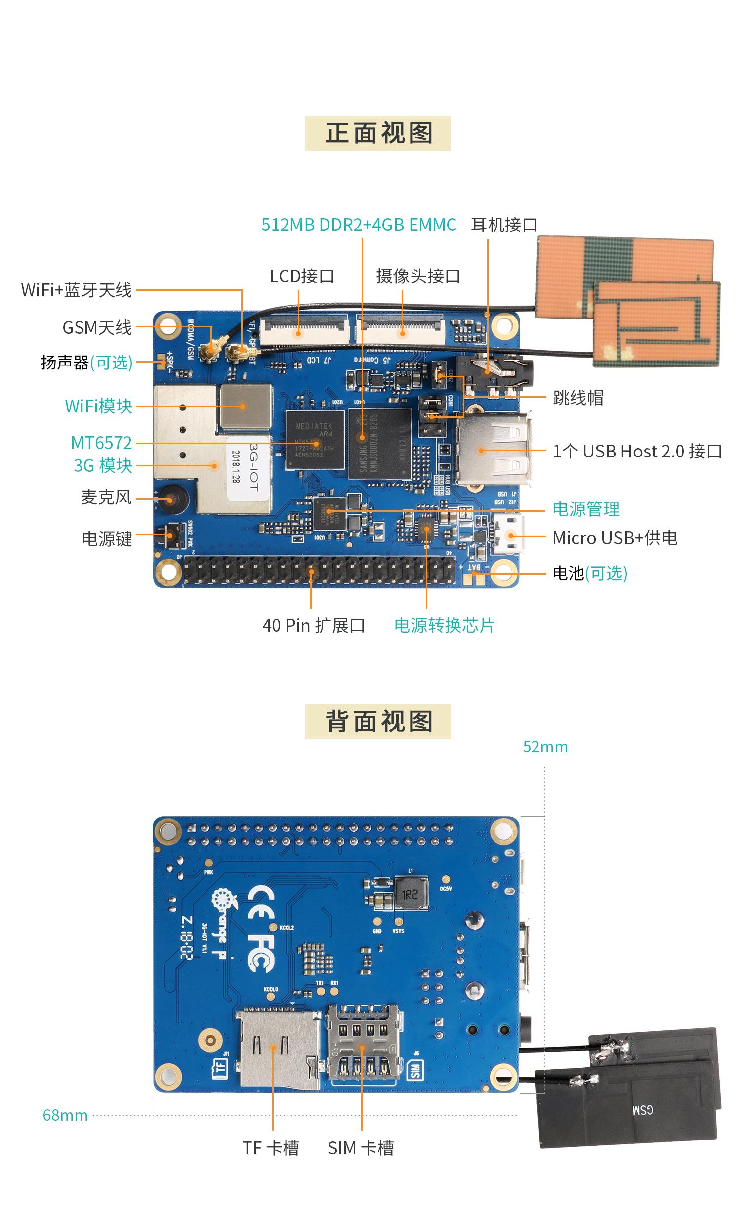 香橙派orange pi 3g-iot-512mb-B解析