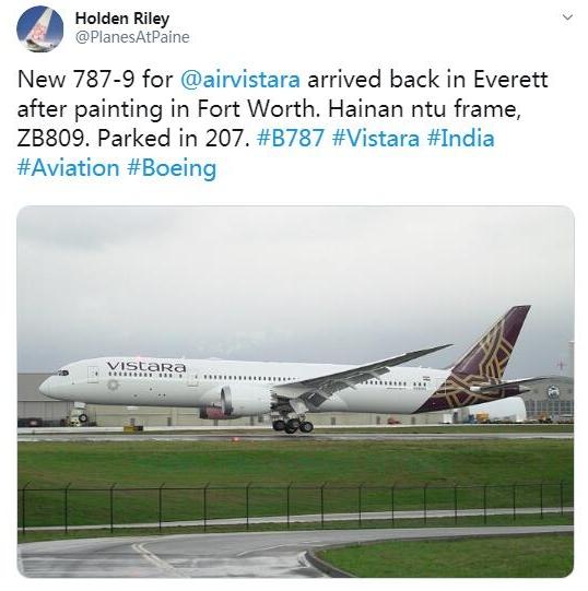 波音已经计划将4架787-9飞机交付给印度Vistara航空公司