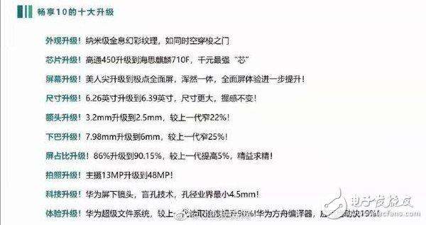 华为畅享10的主要配置信息曝光,在十个方面都有所升级